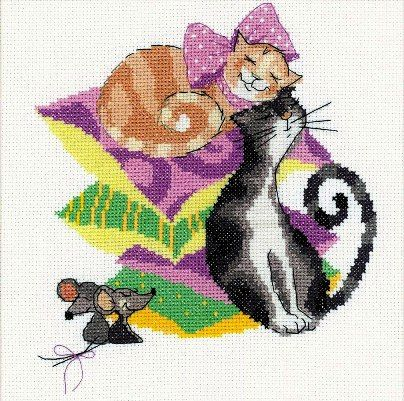 free cross stitch patterns in pdf format with cats and mouses
