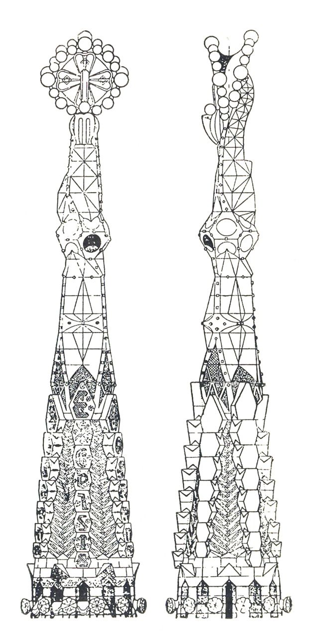 Antonio Gaudi, Elevation of a Pinnacle of the Church of the Sagrada Familia, Barcelona, Spain, 1920's  via archiveofaffinities