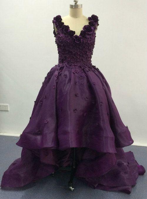 Elegant Purple Deep V Neck Appliqued Floral Short Front