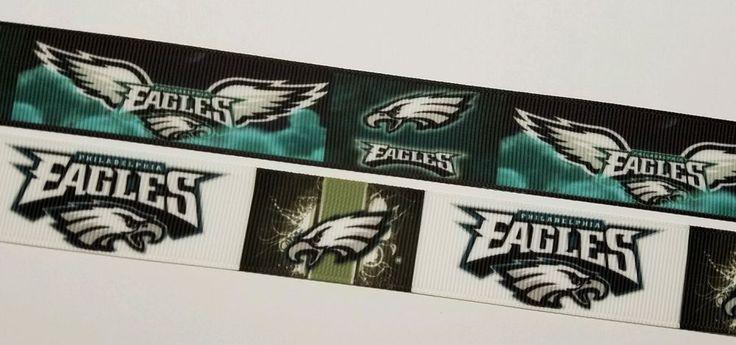 6 yards mixed lot Philadelphia Eagles Football Inspired Grosgrain Ribbon 3 each #Unbranded