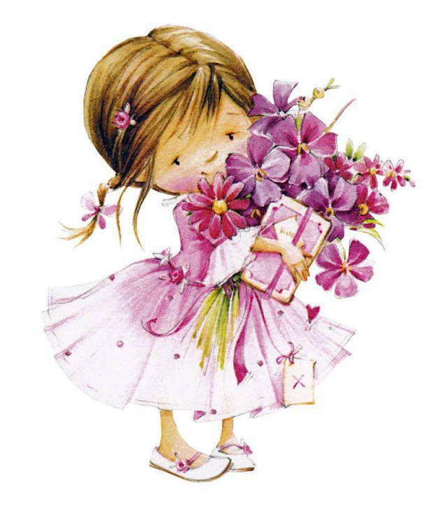 Открытки с девочками с цветами
