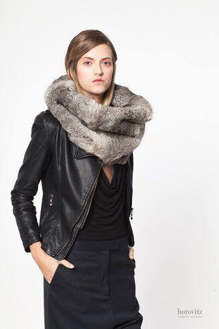oversize silver rabbit fur snood – horovitz