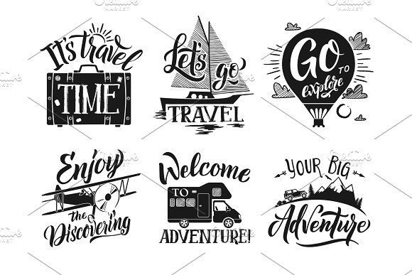 Monochrome Travel Labels Set With Hand Writing Words And Letters Adventure Vector Symbols Travel Words Travel Clipart Writing Words