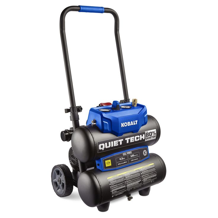 Kobalt Quiet Tech 4.3-Gallon Portable 125 Electric Twin Stack Air Compressor
