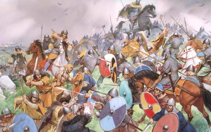 The Battle of Clontarf, fought on Good Friday, 1014. Where High King Brian Boru defeated the Vikings of Dublin, Man, and the Orkneys. And where he met his death at the hands of Brodir of Man. The illustration shows Brian Boru (mounted at top) and the Irish attacking from the left and the Dublin Vikings defending on the right.