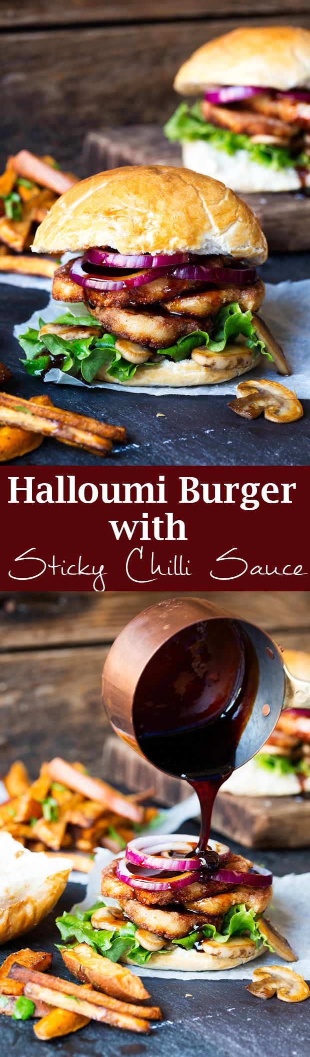 Halloumi burger with sticky chilli drizzle. A speedy and delicious dinner!