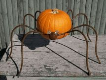 Lg Wrought Iron Spider -  Metal Yard Art that Can hold a Gazing Ball or Seasonal Item
