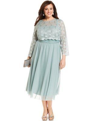 R&M Richards Plus Size Sequin-Lace Overlay Dress | macys.com
