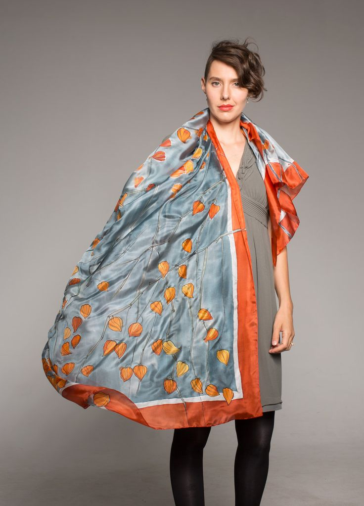 Excited to share the latest addition to my #etsy shop: Hand painted silk scarf- Winter Cherry. Tangerine orange gray shawl/Unique handmade scarves/ Designer scarf/ Weddings accessories, gift her http://etsy.me/2mPq5qg #weddings  Best Seller in my etsy shop around the Christmas.