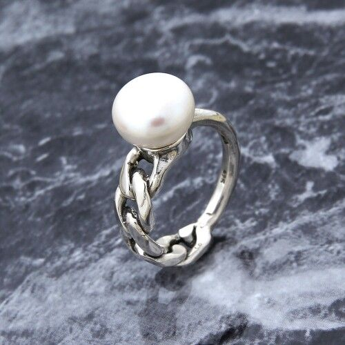 pearl chain silver ring