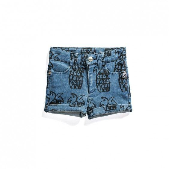 Minti Tropical Short Pineapple Yardage - Blue Denim