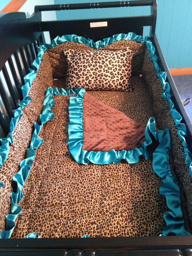 Leopard Turquoise baby bed crib handmade set