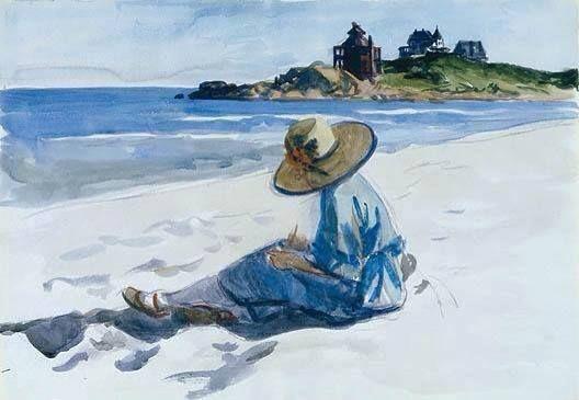 Edward Hopper, Jo dibujando en la playa de Good Harbor, 1925–28. Acuarela, 35.2 x 50.8 cm, Whitney Museum of American Art, Nueva York