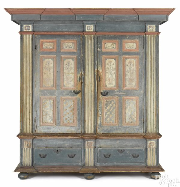 Pennsylvania Painted Pine Architectural Schrank, Ca. 1770, With A Bold  Cornice Over A