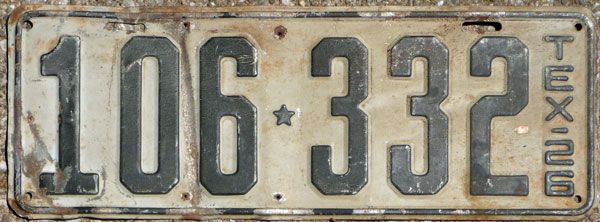 1926 Texas Passenger Car License Plate  Colors  Black Numbers On A Lt  Grey Background