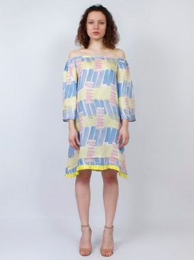 325e9ebfcae303 Yellow Blue Modal Satin Off Shoulder Dress | THE LOOM WESTERN WEAR ...