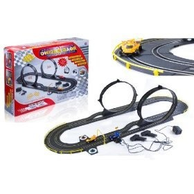 kids authority giant deluxe slot car set double loop electric slot car race set track set with 2 speed cars