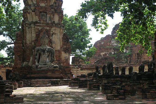Ayutthaya, Tajlandia, Buddy, Ruiny