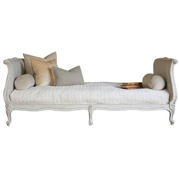 Eloquence Clignancourt Antique White Twin Day Bed ($2,463) ❤ liked on Polyvore featuring home, furniture, beds, ivory furniture, cream bed, cream colored furniture, antiqued white furniture and off white furniture