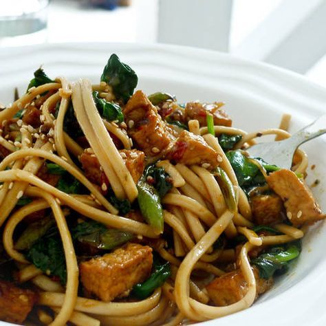 Udon Noodle Stir fry - marinate the tofu in the sauce ahead of time. Simple recipe with easy ingredients.