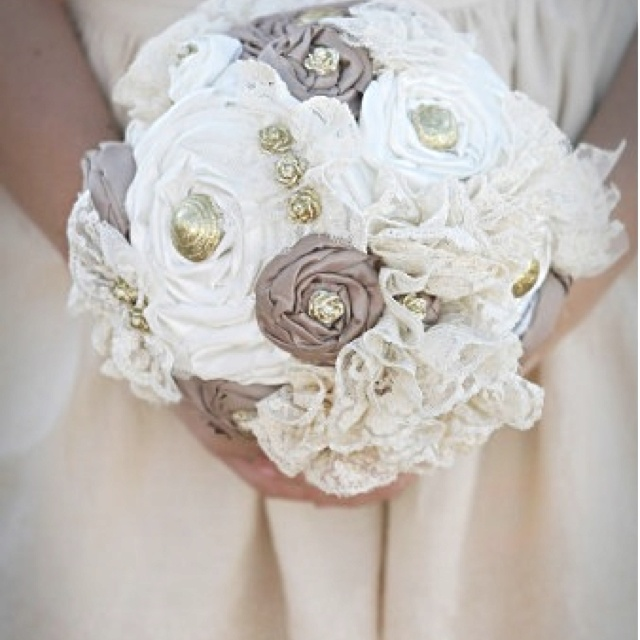 Fabric bouquet--- love the lace flowers on the side