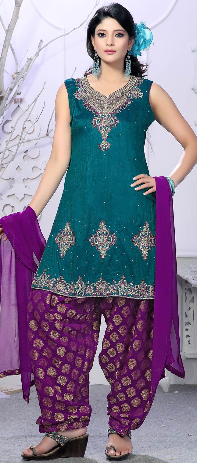 #Blue Art Raw #Silk #Salwar Suit @ $198.23...jes I would love to see you in this,we can buy the dress, I can make the pants.