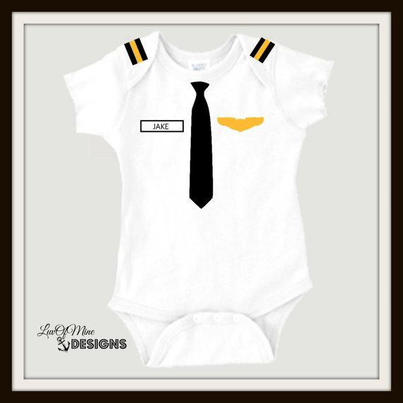 Personalized Baby Pilot Onesie Uniform Baby by LuvOfMineDesigns