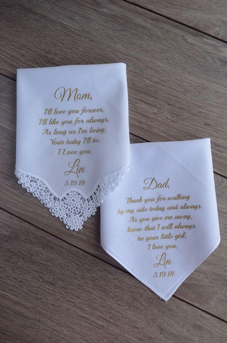 Parents of the Bride Wedding handkerchiefs-Set of 4 handkerchiefs-PRINTED-FCAC Mother of the Bride Gift 53 Parents wedding gift