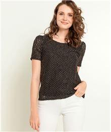 GDM - T-shirt femme dentelle imprimé pois