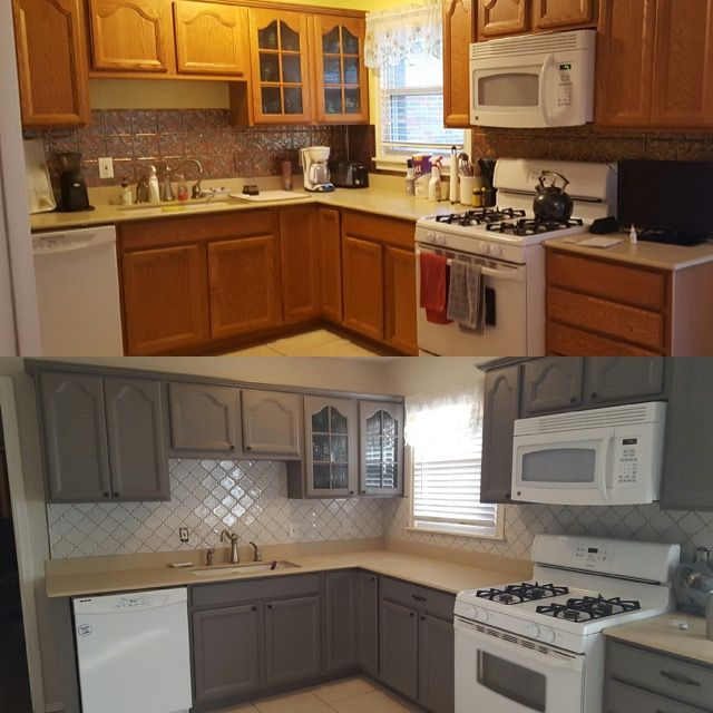 Kitchen updates on a budget! Honey oak cabinets painted ...