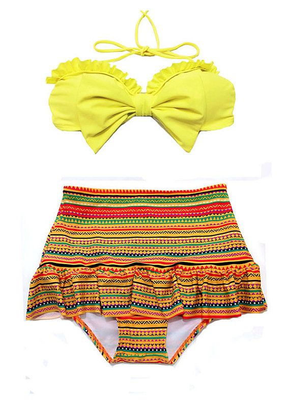 Yellow Bow Top And Tribla Aztec High Waisted Waist Skirt