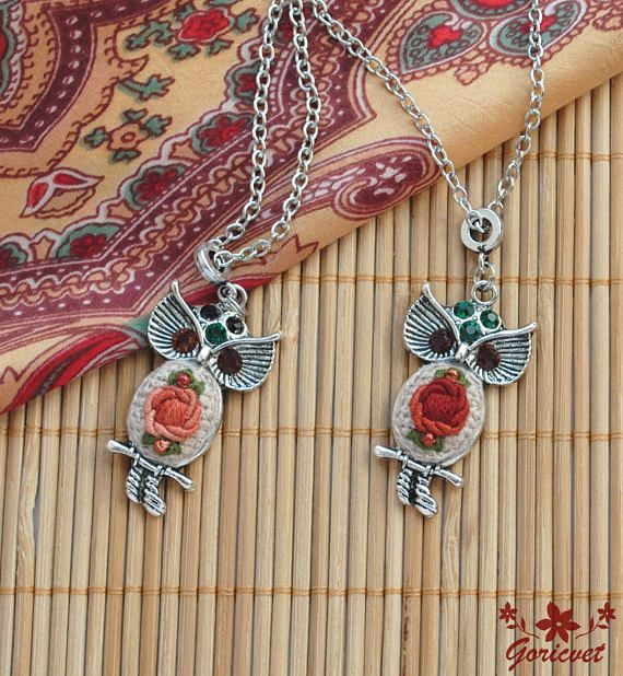 Christmas gift for women Owl necklace rhinestones jewelry gift