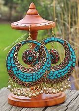 ✿ FABULOUS LARGE BOHEMIAN EARRINGS TURQUOISE RED GYPSY HIPPIE BOHO INDIE