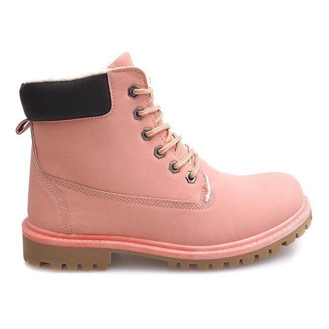 Jesienne Timberki Trapery B788 Rozowy Rozowe Types Of Heels Trekking Shoes Trunks