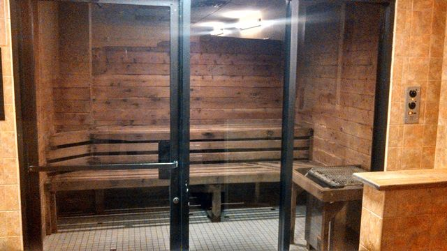 Locker room facilities with steam sauna at gold s gym