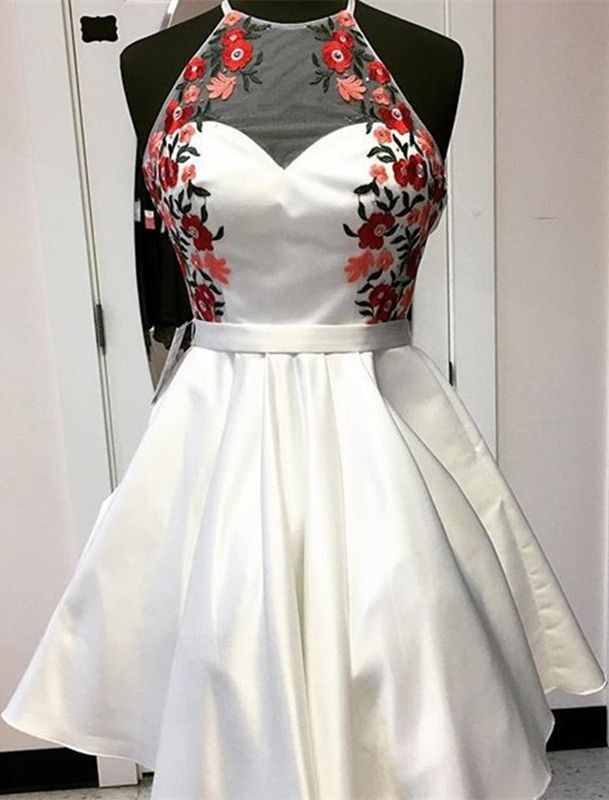 Short Dresses,White Dresses,Homecoming Dresses 2017,Appliques Homecoming Dresses,Dresses For Teens