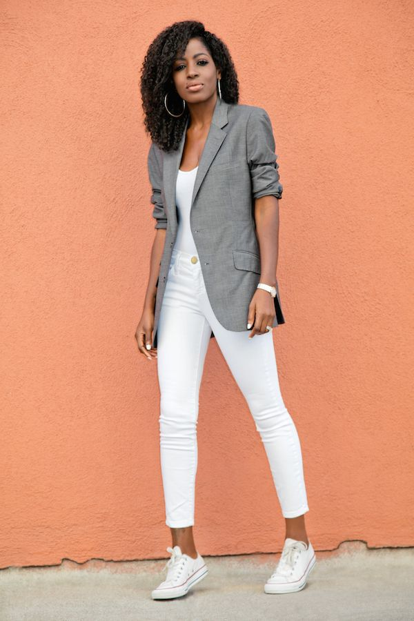Men's Blazer + Bodysuit + Stiletto Jeans