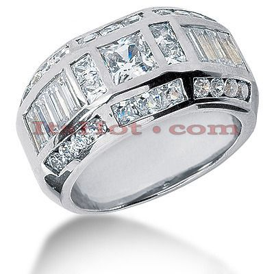 This Mens Diamond Ring  features 3.53 carats of round, princess & baguette diamonds. This men's diamond ring is available in Platinum, 18k or 14k yellow, rose, white gold, various sizes, and can be customized with any color and quality diamonds. Please note: it will take us 3-5 business days to make this ring for you so please plan accordingly. Please contact us at 212-398-3123 if your size or desired option is not listed.