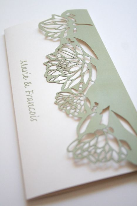 Lasercut Protea Pattern Wedding Invite by Mercia M Designs