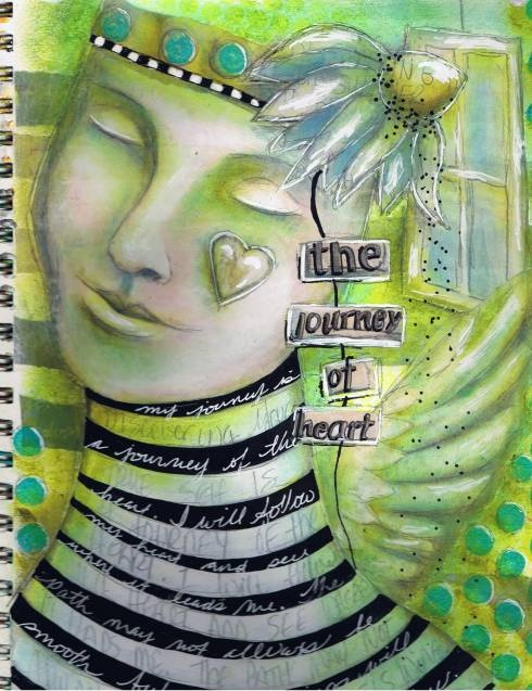 Want to create a journal page like this? Come on over to my new Art at the Speed of Life Page on facebook and join me for 4 quick FREE video lessons supported by written instruction. One lesson will post each week and lesson 3 of the 4 is now up