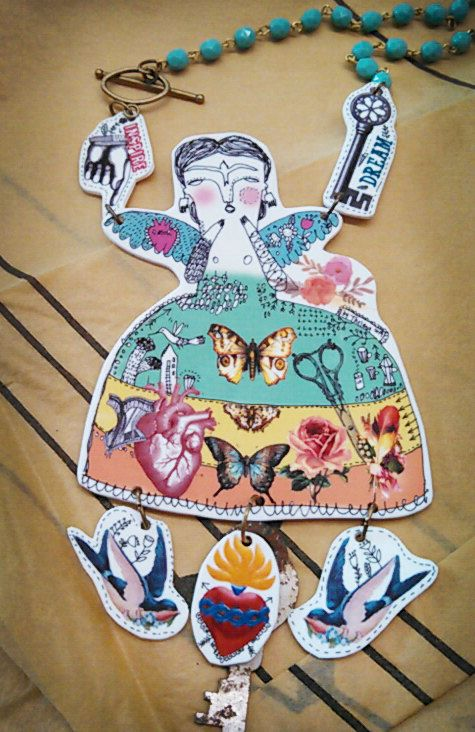 Frida Angel - Necklace made with shrink plastic - Art by Thelma Lugo
