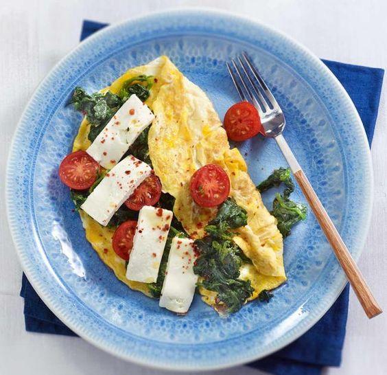 Spinat-Omelette mit Feta Rezept - [ESSEN UND TRINKEN]