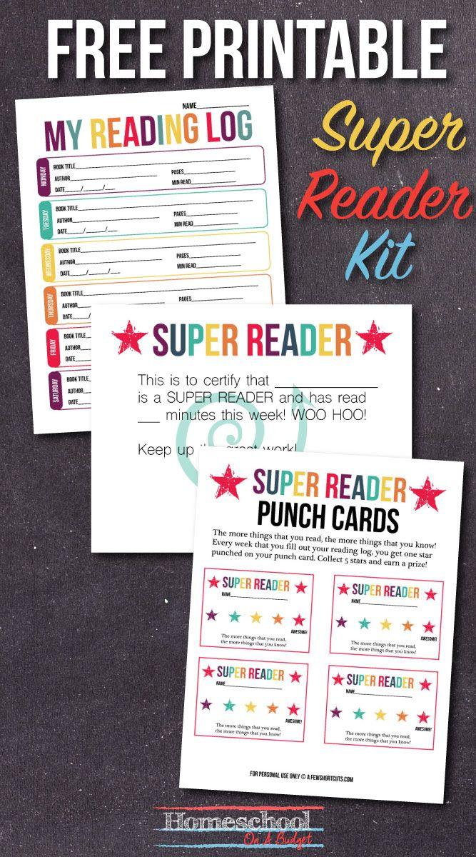 Free Printable Super Reader Kit with Reading Log, Certificate, and Punch Cards to really give kids incentive to read! Perfect for homeschoolers!