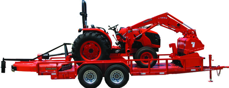 Premium Kubota Packages - Like this Kubota MX5100F, 2WD/50HP tractor with a Landpride Rotary Cutter and Box Blade loaded up on a trailer and ready to pull away.  Visit www.greatplainskubota.com today to find out more!