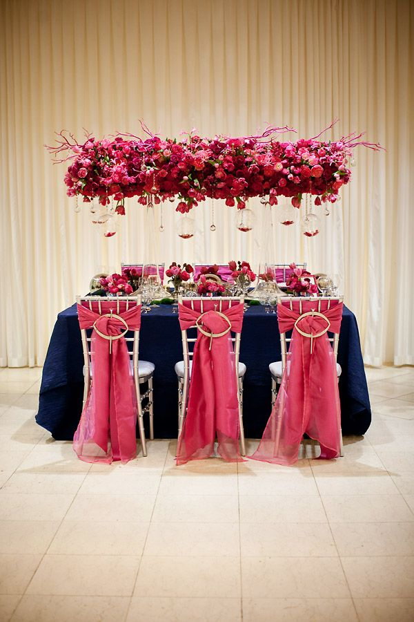 Wedding Tablescape. Fuschia, Navy. hanging florals