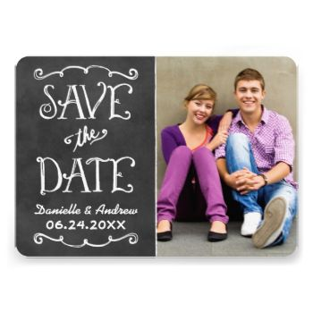 Whimsical and unique two-sided photo announcement card save the dates feature a rustic textured look blackboard background with handwritten style fonts that have a white chalk appearance. Personalize with the wedding details and a favorite portrait format engagement photo. #wedding #chalk #chalkboard #handwritten #handwriting #photo #vintage #whimsical #save #the #date #save #the #dates #casual #engagement #announce
