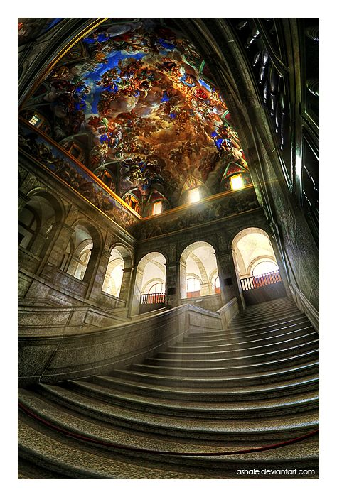 El Escorial near Madrid, Spain. Named a world heritage site since 1984, it functions are a monastery, royal palace, museum and school. Absolutely stunning by the looks of it.
