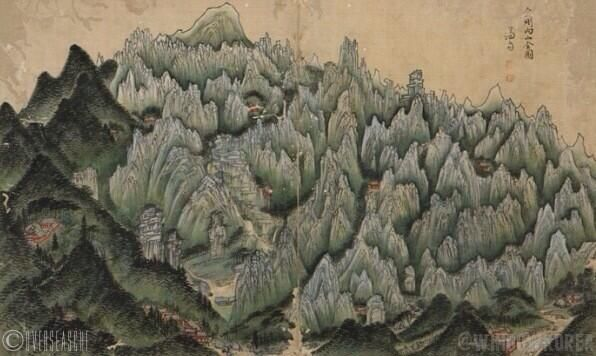 Geumgang naesanjeondo(or Genareal view of Mt. Kumkang; 금강내산전도; 金剛內山全圖) by Jeong Seon(1676~1759) in his seventies.