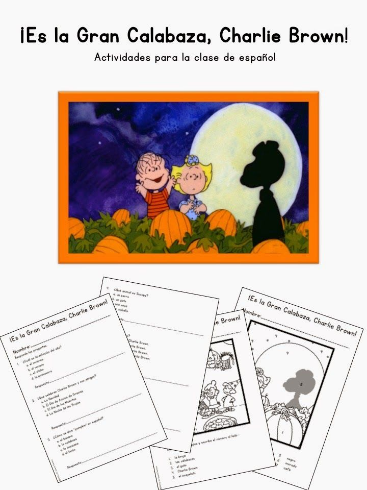 Fun for Spanish Teachers: ¡Es la Gran Calabaza, Charlie Brown! {Movie} - Activity Guide for Spanish Class