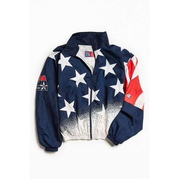 Vintage Champion Stars and Stripes Windbreaker Jacket ($128) ❤ liked on Polyvore featuring men's fashion, men's clothing, men's activewear, men's activewear jackets and urban outfitters